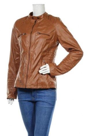 Дамско кожено яке, Размер L, Цвят Кафяв, Еко кожа, Цена 36,75лв.