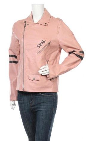 Дамско кожено яке, Размер M, Цвят Розов, Еко кожа, Цена 22,05лв.