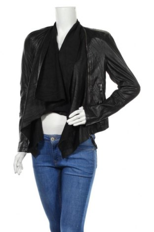 Дамско кожено яке, Размер S, Цвят Черен, Естествена кожа, текстил, Цена 54,44лв.