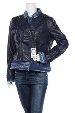 Дамско кожено яке Desigual, Размер XL, Цвят Син, Еко кожа, текстил, Цена 77,70лв.