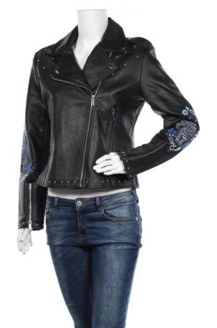 Дамско кожено яке Desigual, Размер L, Цвят Черен, Еко кожа, Цена 64,12лв.