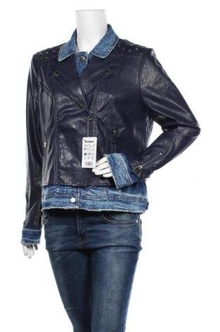 Дамско кожено яке Desigual, Размер XL, Цвят Син, Еко кожа, текстил, Цена 83,72лв.
