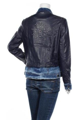 Дамско кожено яке Desigual, Размер XL, Цвят Син, Еко кожа, текстил, Цена 179,40лв.