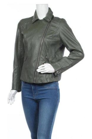 Дамско кожено яке H&M, Размер L, Цвят Зелен, Еко кожа, Цена 23,31лв.
