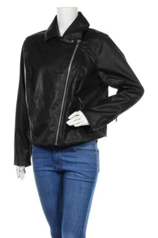 Дамско кожено яке H&M Divided, Размер XL, Цвят Черен, Еко кожа, Цена 33,02лв.
