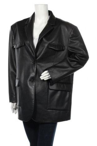 Дамско кожено яке Monki, Размер L, Цвят Черен, Еко кожа, Цена 41,60лв.