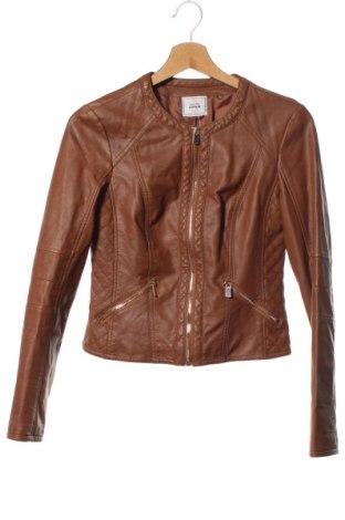 Дамско кожено яке Pimkie, Размер XXS, Цвят Кафяв, Еко кожа, Цена 25,73лв.