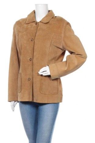 Дамско кожено яке Stefanel, Размер XL, Цвят Бежов, Естествена кожа, Цена 103,40лв.