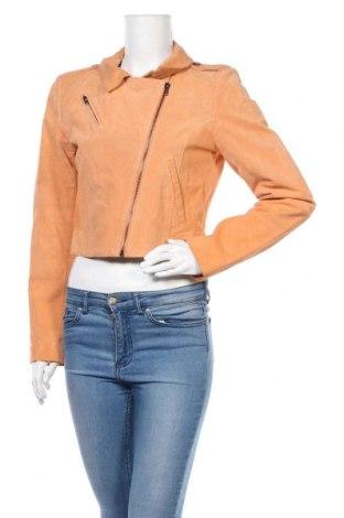 Дамско кожено яке Vero Moda, Размер L, Цвят Оранжев, Естествен велур, Цена 49,30лв.