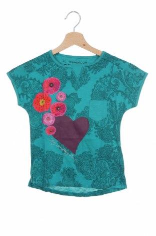 Детска блуза Desigual, Размер 5-6y/ 116-122 см, Цвят Зелен, 76% памук, 24% вискоза, Цена 27,60лв.