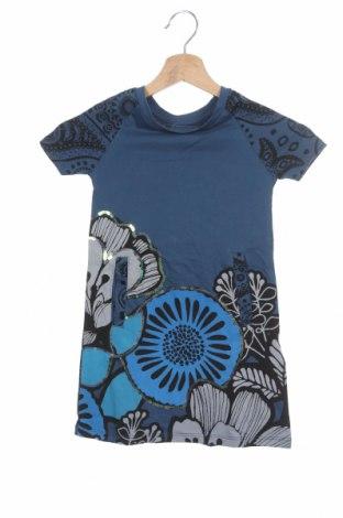 Детска рокля Desigual, Размер 3-4y/ 104-110 см, Цвят Син, Памук, Цена 41,40лв.