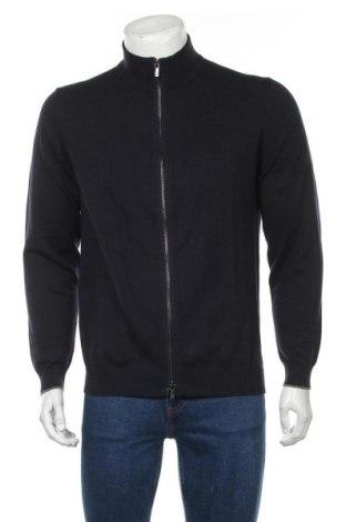 Jachetă tricotată de bărbați Massimo Dutti, Mărime L, Culoare Albastru, 88% bumbac, 12% mătase, Preț 195,40 Lei
