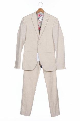 Мъжки костюм Isaac Dewhirst, Размер XS, Цвят Бежов, 55% лен, 45% памук, Цена 44,82лв.