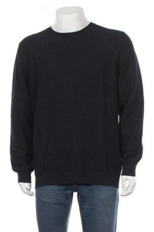 Мъжки пуловер Massimo Dutti, Размер XXL, Цвят Син, 95% памук, 5% кашмир, Цена 30,69лв.
