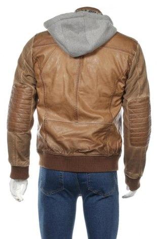 Мъжко кожено яке Desigual, Размер M, Цвят Кафяв, Еко кожа, памук, полиестер, еластан, Цена 194,25лв.