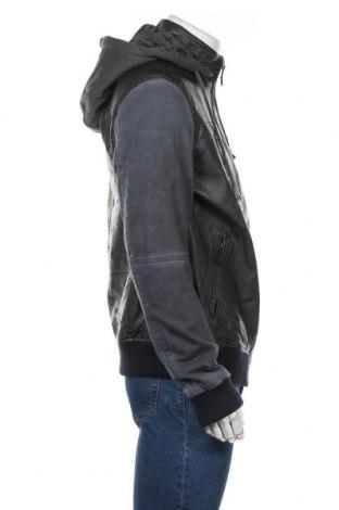 Мъжко кожено яке Desigual, Размер XL, Цвят Син, Еко кожа, памук, полиестер, еластан, Цена 201,75лв.