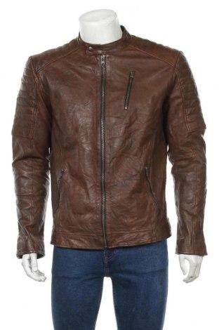 Pánská kožená bunda  Jack & Jones, Velikost L, Barva Hnědá, Pravá kůže, Cena  1694,00Kč