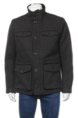 Pánský kabát  H&M, Velikost L, Barva Šedá, 81% polyester, 15% vlna, 4% jiné materiály, Cena  732,00Kč