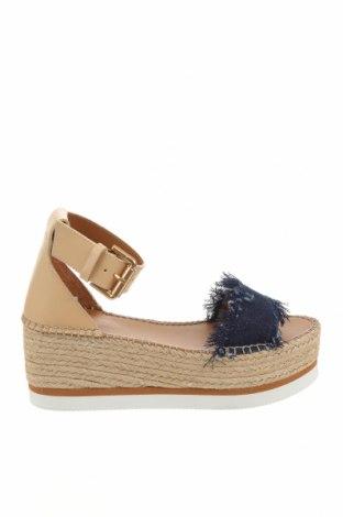 Sandale See By Chloe, Mărime 36, Culoare Albastru, Piele naturală, textil, Preț 550,23 Lei