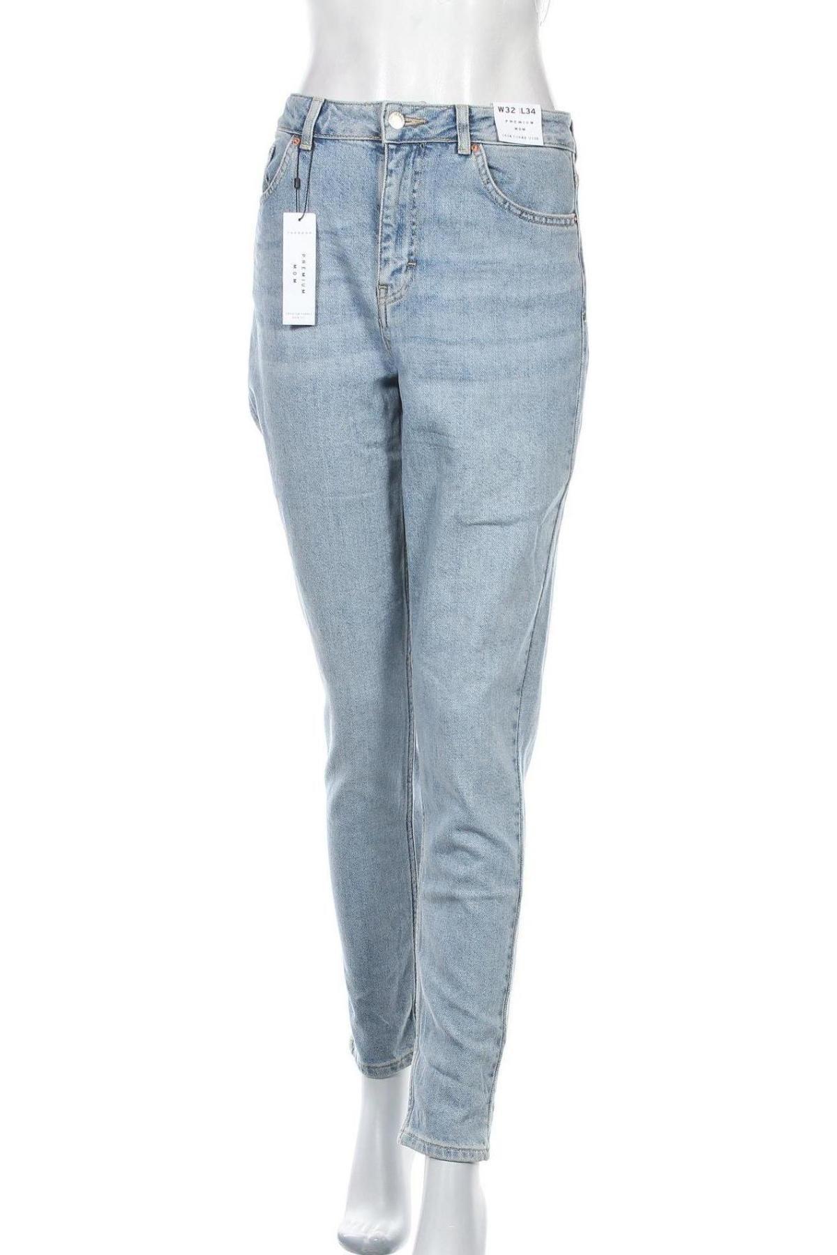 Blugi de femei Topshop, Mărime L, Culoare Albastru, 92% bumbac, 8% elastan, Preț 219,57 Lei