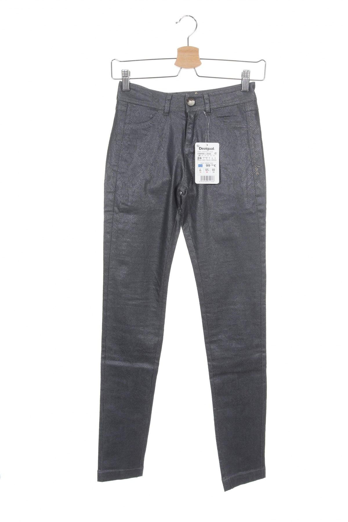 Дамски панталон Desigual, Размер XS, Цвят Сив, 74% памук, 24% полиестер, 2% еластан, Цена 126,75лв.