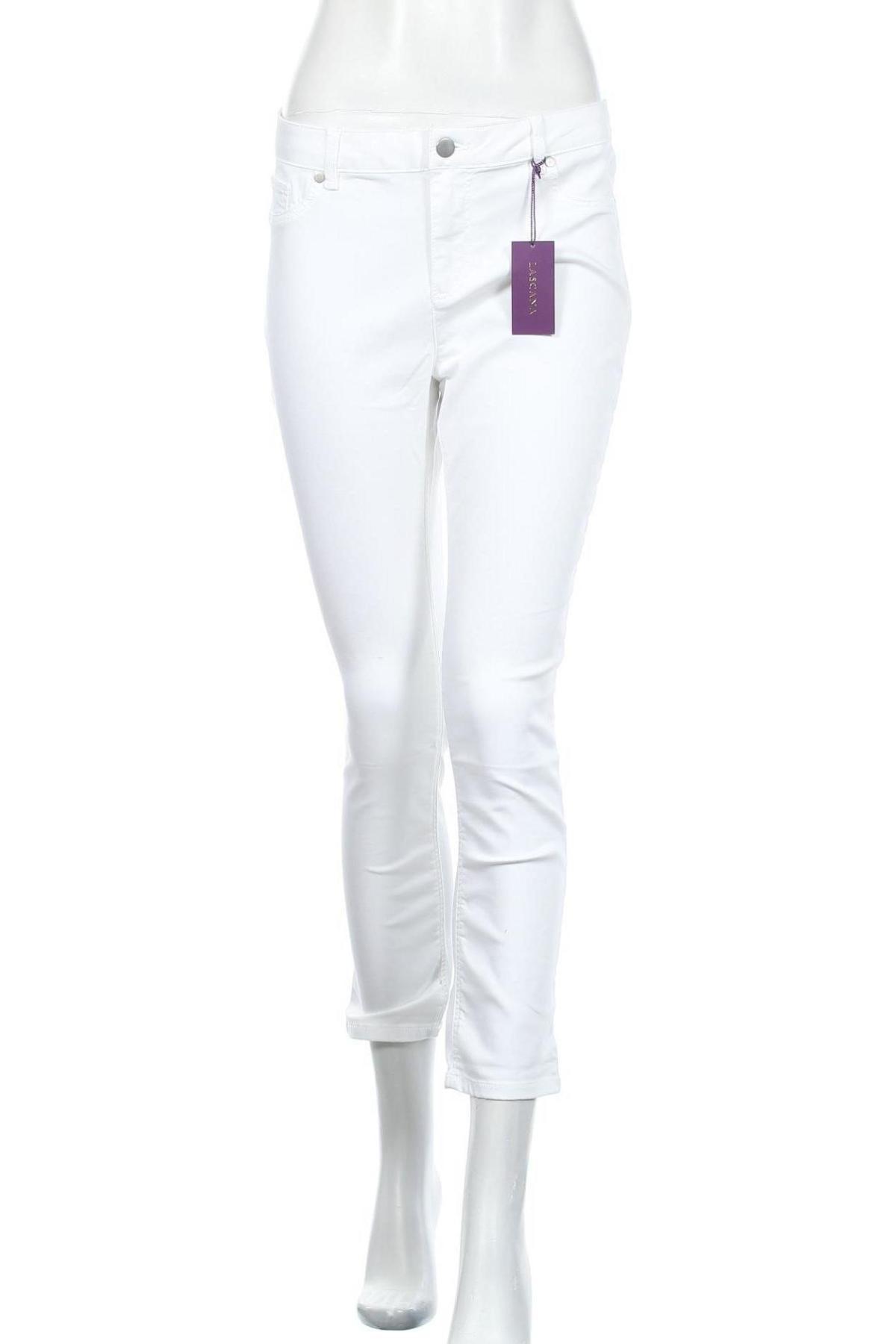 Дамски панталон Lascana, Размер M, Цвят Бял, 66% памук, 31% полиестер, 3% еластан, Цена 13,98лв.