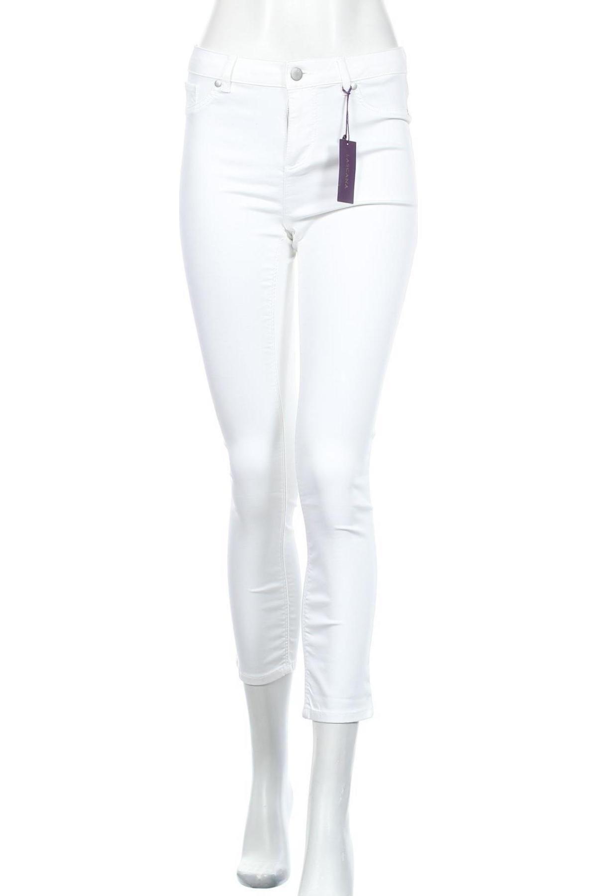 Дамски панталон Lascana, Размер S, Цвят Бял, 66% памук, 31% полиестер, 3% еластан, Цена 13,98лв.