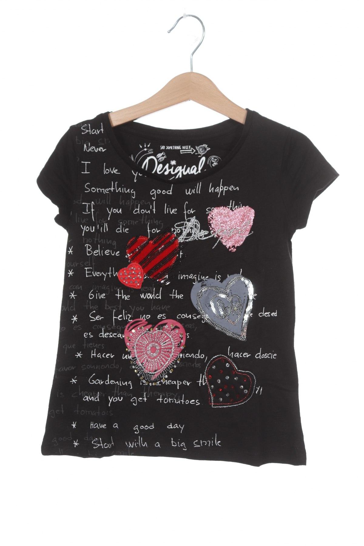 Детска тениска Desigual, Размер 5-6y/ 116-122 см, Цвят Черен, 55% памук, 45% вискоза, Цена 48,00лв.