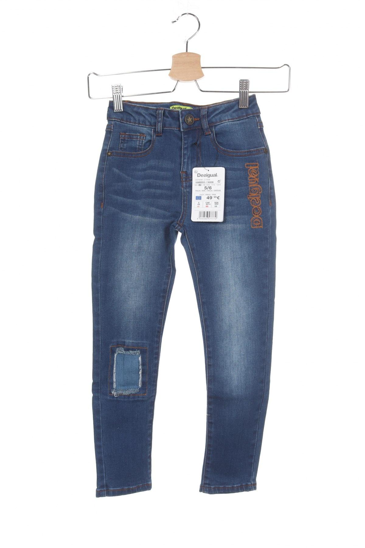 Детски дънки Desigual, Размер 5-6y/ 116-122 см, Цвят Син, 75% памук, 24% полиестер, 1% еластан, Цена 59,25лв.