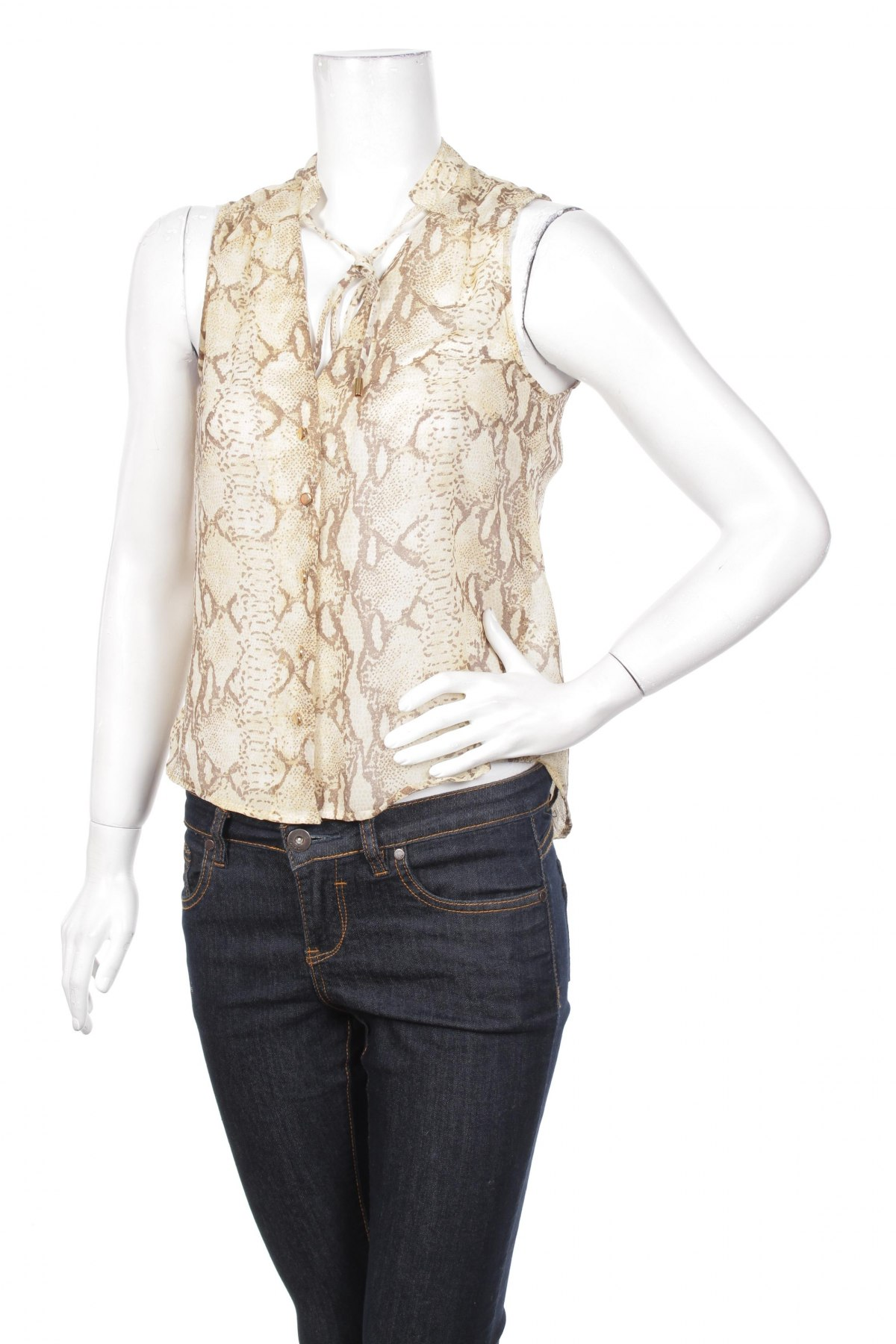 Γυναικείο πουκάμισο H&M, Μέγεθος XS, Χρώμα  Μπέζ, Πολυεστέρας, Τιμή 9,28€