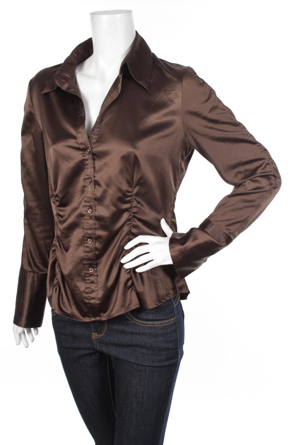 Γυναικείο πουκάμισο S.Oliver, Μέγεθος M, Χρώμα Καφέ, 97% πολυεστέρας, 3% ελαστάνη, Τιμή 13,61€