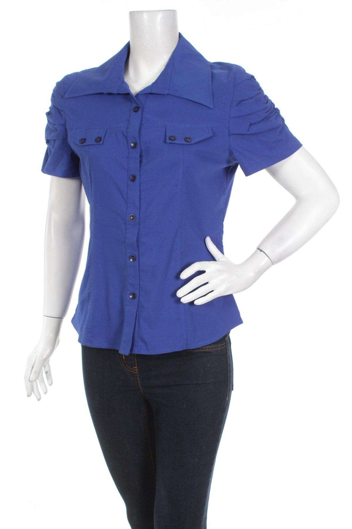Γυναικείο πουκάμισο Uz - Sa, Μέγεθος L, Χρώμα Μπλέ, 5% ελαστάνη, 55% βαμβάκι, 40% πολυεστέρας, Τιμή 12,89€
