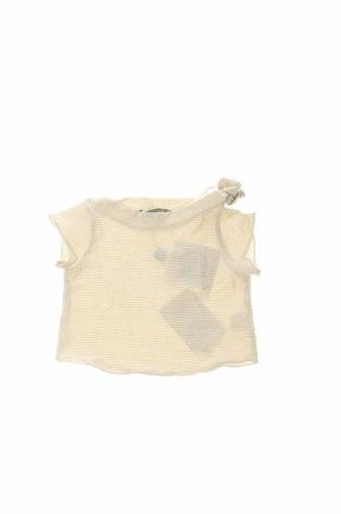 Детска блуза Minimu, Размер 2-3m/ 56-62 см, Цвят Бежов, 84% памук, 16% метални нишки, Цена 3,70лв.