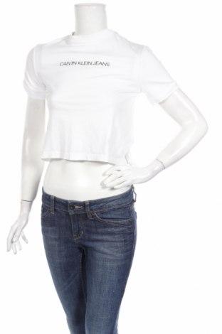 Γυναικείο t-shirt Calvin Klein Jeans, Μέγεθος XS, Χρώμα Λευκό, Βαμβάκι, Τιμή 31,96€