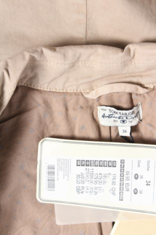 Дамско яке Tom Tailor, Размер XS, Цвят Бежов, 97% памук, 3% еластан, Цена 55,65лв.