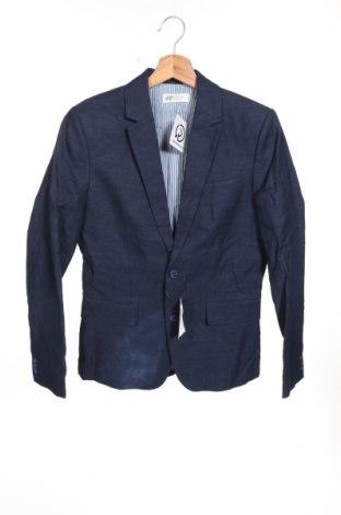 Детско сако H&M, Размер 13-14y/ 164-168 см, Цвят Син, 56% лен, 44% памук, Цена 13,30лв.