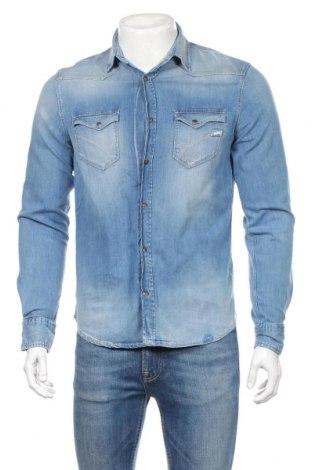 Мъжка риза Gas, Размер M, Цвят Син, 99% памук, 1% еластан, Цена 64,08лв.