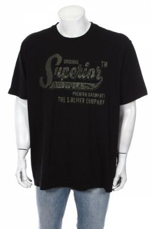 Ανδρικό t-shirt S.Oliver, Μέγεθος 3XL, Χρώμα Μαύρο, Βαμβάκι, Τιμή 21,65€