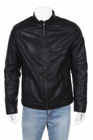 Мъжко кожено яке Tom Tailor, Размер M, Цвят Черен, Еко кожа, Цена 94,52лв.