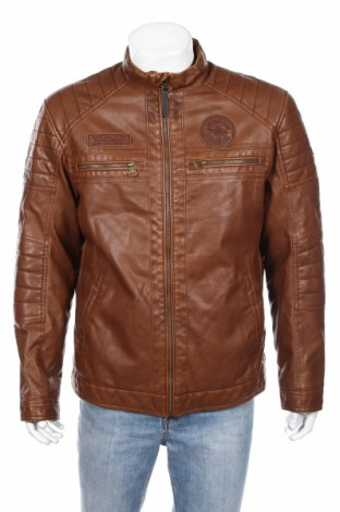Мъжко кожено яке Tom Tailor, Размер XL, Цвят Кафяв, Еко кожа, Цена 139,00лв.