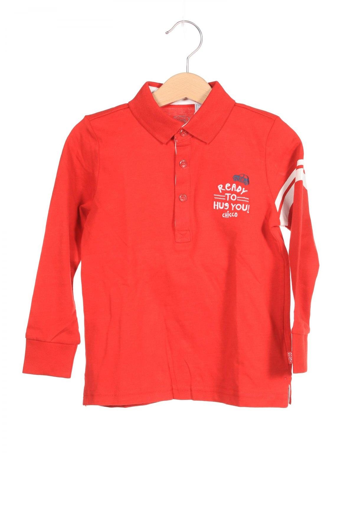 Детска блуза Chicco, Размер 3-4y/ 104-110 см, Цвят Червен, Памук, Цена 9,00лв.