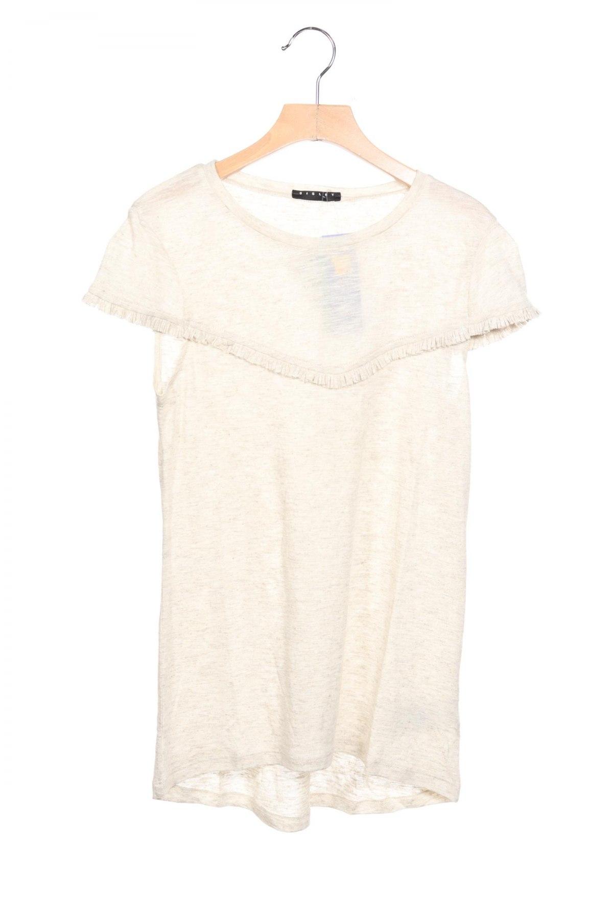 Детска блуза Sisley, Размер 13-14y/ 164-168 см, Цвят Бежов, 60% вискоза, 20% лен, 20% полиестер, Цена 28,50лв.