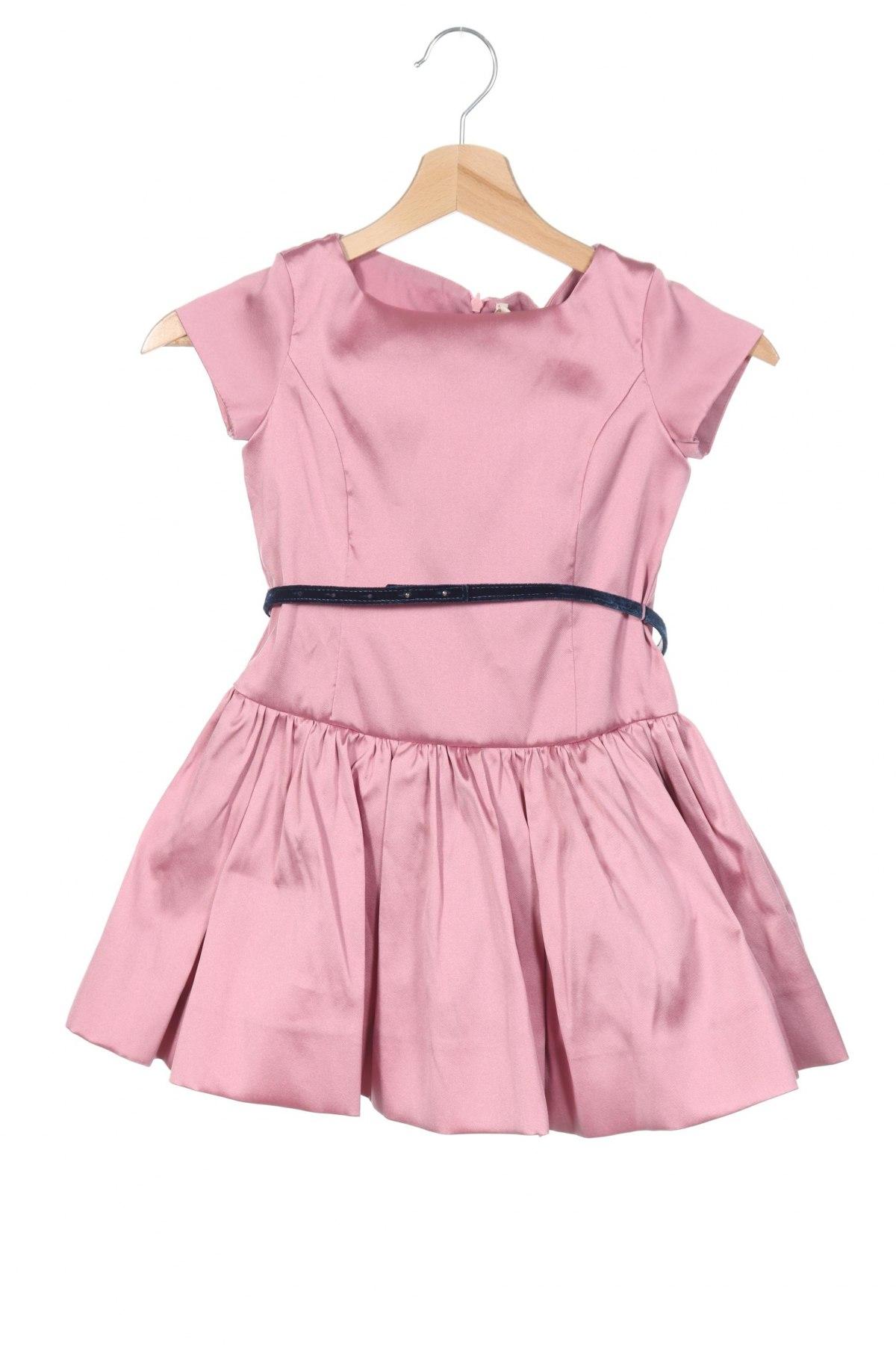 Детска рокля Monnalisa, Размер 5-6y/ 116-122 см, Цвят Розов, 90% полиестер, 10% полиамид, Цена 111,75лв.