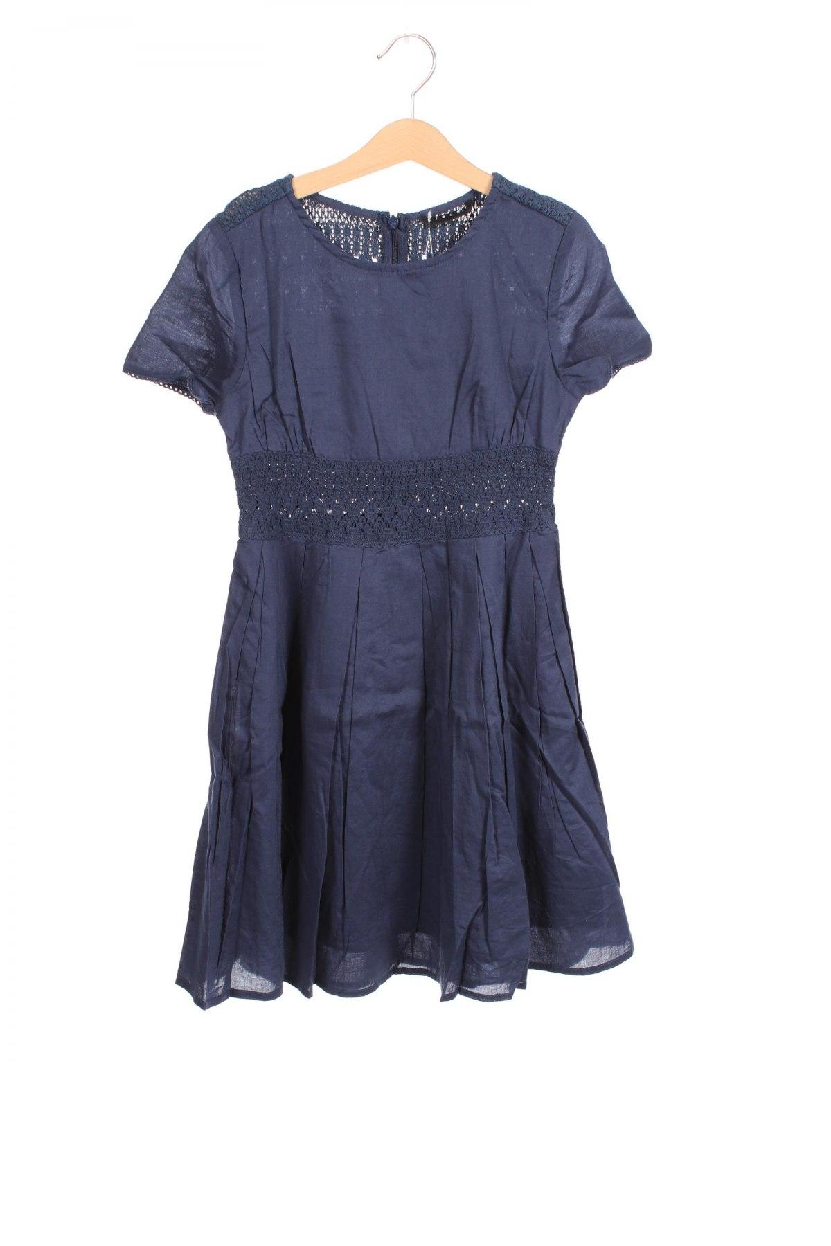 Детска рокля Sisley, Размер 7-8y/ 128-134 см, Цвят Син, 100% памук, Цена 6,90лв.