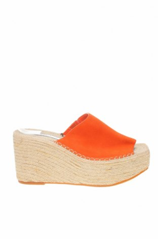 Чехли Zara Trafaluc, Размер 40, Цвят Оранжев, Естествен велур, Цена 29,75лв.