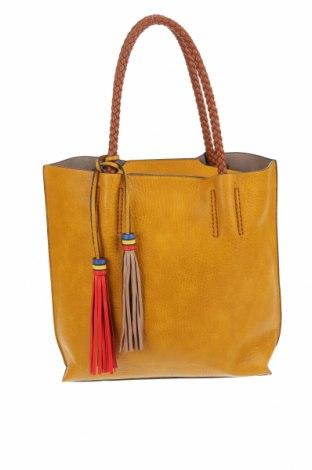 Γυναικεία τσάντα, Χρώμα Κίτρινο, Δερματίνη, Τιμή 19,12€