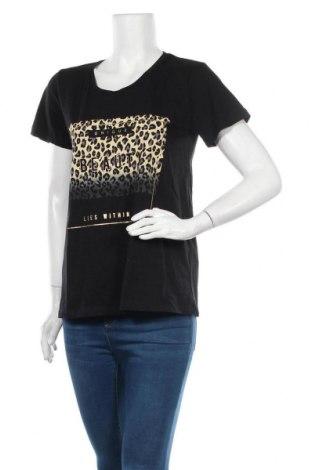 Γυναικείο t-shirt Kaffe, Μέγεθος M, Χρώμα Μαύρο, Βαμβάκι, Τιμή 22,20€