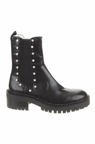 Botine de damă Zara, Mărime 38, Culoare Negru, Piele ecologică, textil, Preț 60,15 Lei