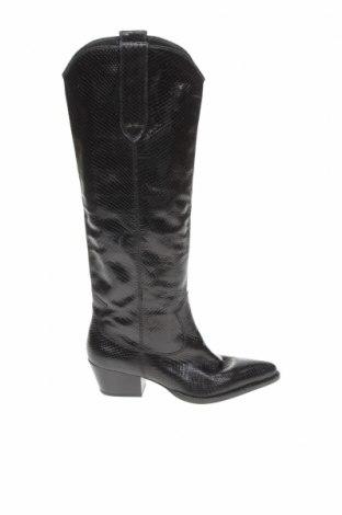 Дамски ботуши Zara, Размер 40, Цвят Черен, Естествена кожа, Цена 52,92лв.