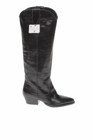 Γυναικείες μπότες Zara, Μέγεθος 37, Χρώμα Μαύρο, Γνήσιο δέρμα, Τιμή 21,43€